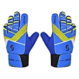 Sportout Kids Goalkeeper Gloves, Soccer Gloves with Double Wrist Protection and Non-Slip Wear Resistant Latex Material to Give Splendid Protection to Prevent Injuries (Blue, 7)