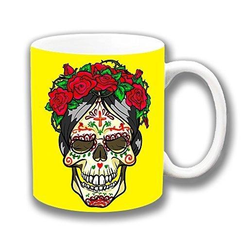 Vintage Retro Mexicano Calavera Frida Kahlo Día De Muerto Amarillo Cerámica Taza Jarro Para Té CaféÚnico Idea Regalo
