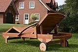 Hecht Gartenliege rollbare Sonnenliege mit Verstellbarer Rückenlehne und ausziehbarer Ablage - 3