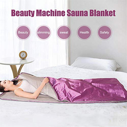 INLOVEARTS Far-Infrared (FIR) Sauna Blanket, 2 Zone Weight Loss Body Shaper Professional Detox Therapy Anti Ageing Beauty Machine (with Remote Control) (Purple) 5