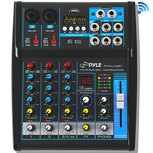 Pyle Professional Audio Mixer Sound Board Console System Interface 4 Channel Digital USB Bluetooth MP3 Computer Input 48V Phantom Power Stereo DJ Studio Streaming FX 16-Bit DSP processor - PMXU43BT