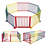 JAXPETY 8 Panel Kids Play Center Yard Indoor&Outdoor Baby Playpen Foldable Wooden Frame