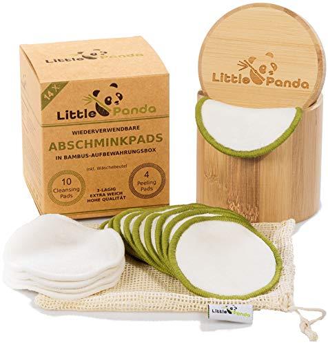Little Panda® Abschminkpads waschbar aus Bambus & Bio-Baumwolle | 14 wiederverwendbare Wattepads Bambus-Pads | nachhaltige Baumwollpads Make Up Pads inkl. hochwertige Bamboo Aufbewahrungsbox & Beutel