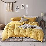 """mixinni 3 Pieces Modern Style Duvet Cover Set Solid Color Gold Microfiber Bedding Cover Set with Zipper Ties for""""Him and Her"""" (1 Duvet Cover + 2 Pillow Shams),Easy Care,Soft,Durable (Gold,Queen Size)"""