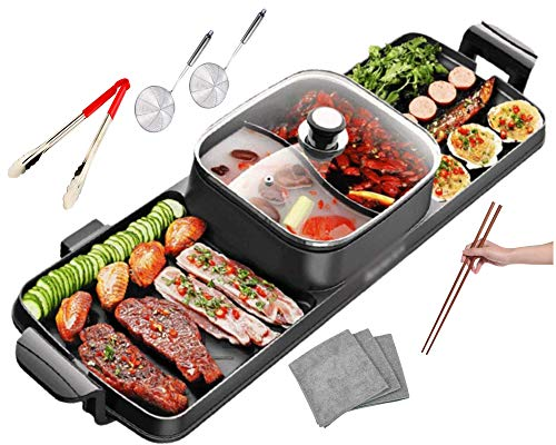 Product Image 1: Soup N Grill V2 Hotpot Grill Combo, Indoor Korean BBQ, Shabu Shabu Electric Hot Pot with Divider, Portable with Free Strainer Scoops, Extra Long Chopsticks, Tongs, Cloths, Smokeless Grill