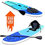 Zupapa Upgrade Inflatable Stand Up Paddle Board 6' Thick 11 FT Kayak Convertible All Accessories Included