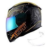1Storm Motorcycle Full Face Helmet Skull King Matt Orange+ One Extra Clear Shield, Size Large (57-58 cm,22.4/22.8 Inch)