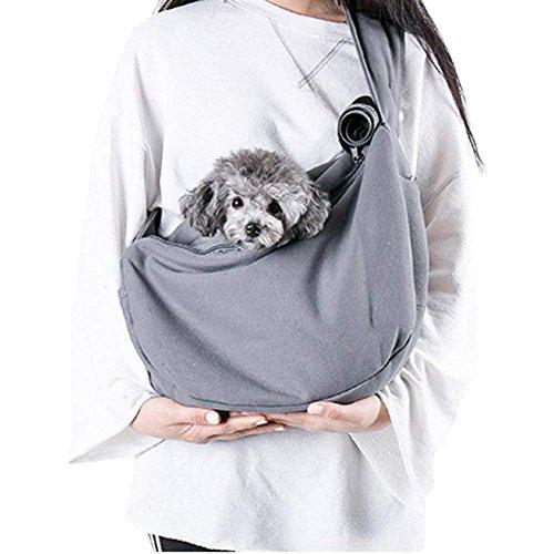 Maxmer Hunde Tragetasche Transporttasche für Kleine Hunde und Katzen Single-Schulter Hundetragebeutel aus Oxford Nylon (Grau)