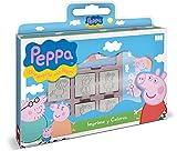 Multiprint Valija 7 Sellos para Niños Peppa Pig, 100% Made in Italy, Set Sellos Niños Persolanizados, en Madera y Caucho Natural, Tinta Lavable no Tóxica, Idea de Regalo, Art.07875