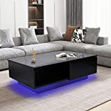 Coffee Table with LED Lights, High Gloss Coffee Side Sofa Table Black Modern Glossy Living Room Storage Table with Drawer, 37.4 x 23.6 x 12.4in (US Plug 110V)