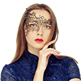 MYMENU Masquerade Mask for Women Luxury Venetian Mask Women's Lace Eye Mask for Masquerade Party Prom Ball Bar Costume Festival Carnival Mardi Gras (Half Face Gold)