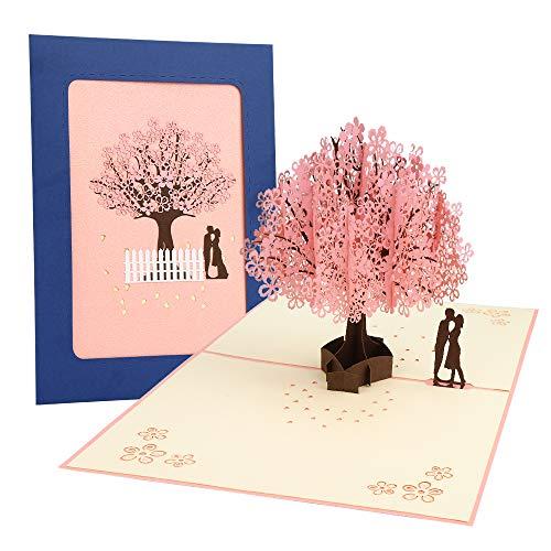 3D Karte, Pop Up Kirschblüte Liebhaber Hochzeitskarte für Romantik Faltkarte Grußkarte Valentinstag Karte, Hochzeitstag, Geburtstagskarte für sie, Glückwunschkarten mit Umschlag