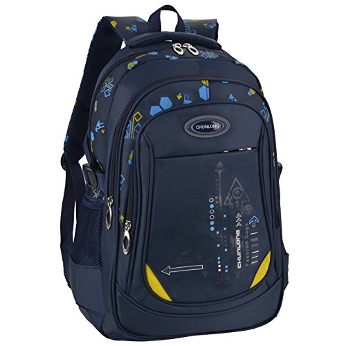 Bageek School Bag for Boys Bookbag Multi-pockets School Backpack Casual Backpack (Royal Blue)
