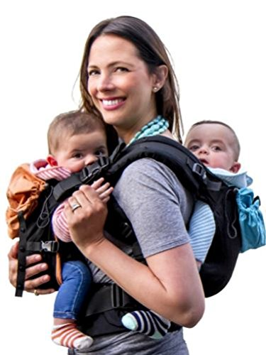 TwinGo Carrier - Lite Model - Classic Black - Works as a Tandem or Single Baby Carrier (Extra Straps Sold Separately). Adjustable for Men, Women, Twins and Babies Between 10-45 lbs