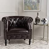 Christopher Knight Home Sultan   Button-Tufted Leather Club Chair with Studded Accents   in Brown