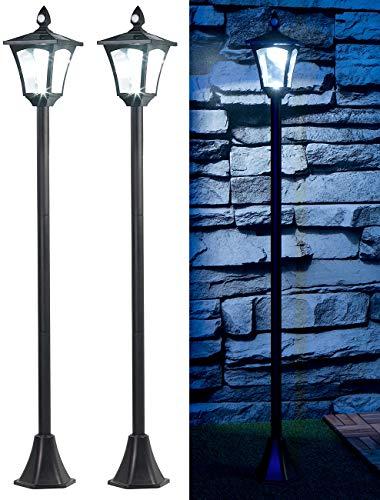 Royal Gardineer Wegeleuchten: 2er-Set Solar-LED-Gartenlaterne, PIR-/Dämmerungssensor, 100 lm, 160 cm (Lampe mit Bewegungsmelder)