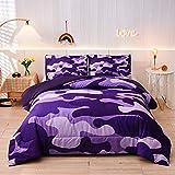 Meeting Story Camouflage Bedding Set, Purple Camouflage Comforter Set, 3 PCS One Comforter and Two Pillowcases, Lightweight Bedspread for Kids Teens Adults (Purple, Queen)