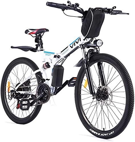 VIVI Velo Electrique Pliable, 26' VTT Électrique 250W Vélo Électrique Adulte avec Batterie Amovible 8Ah, Professionnel 21 Vitesses, Suspension Complète (Blanc-Style 2)