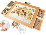 """1500 Piece Wooden Jigsaw Puzzle Table - 6 Drawers, Puzzle Board + 9 Glue Sheets & 3 Hangers 