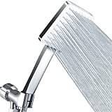 High Pressure Shower Head with Handheld - Modern Square Handheld Shower Heads - 6 Settings Detachable shower head with hose, Change Settings Much Easier Than the Twist Ones, Shower Accessories, Chrome