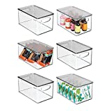 mDesign Plastic Stackable Kitchen Pantry Cabinet, Refrigerator, Freezer Food Storage Box with Handles, Lid - Organization for Fruit, Snacks, Pasta - 10' Long, 6 Pack - Clear/Smoke Gray