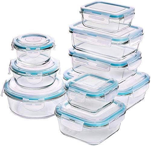 Recipiente - Contenedor de Almacenamiento de Alimentos de Vidrio - 18 piezas (9 envases +...