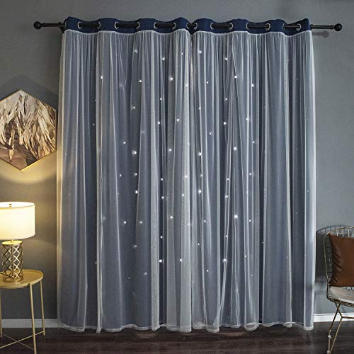 Kinryb Star Cut-Out Romantic Blackout Curtains for Bedroom 2...