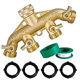 Hourleey Brass Garden Hose Splitter (4 Way), Solid Brass Hose Connector 3/4', Hose Spigot Adapter 4 Valves with 4 Extra Rubber Washers