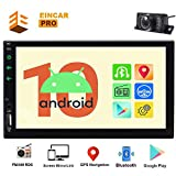 Android 10.0 2 Din Car Stereo 7 inch Touch Screen Double Din Car Radio Video Player GPS Navigation System in Dash Head Unit Support Bluetooth WiFi Mirror Link USB SD with Remote Control + Microphone