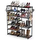 Tribesigns Shoe Rack Shoe Tower Shoe Shelf Shoe Storage Organizer Unit Entryway Shelf Stackable Cabinet 24-30 Pairs 7-Tier Durable Metal Shoe Rack Boots Organizer