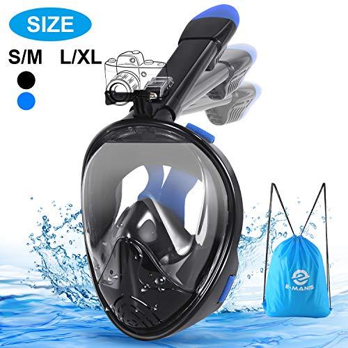 E-MANIS Tauchmaske Anti-Fogging Wasserdicht CO2 Easybreath Schnorchelmaske Maske Vollmaske 180° Sichtfeld Vollgesichtsmaske Faltbare mit Kamerahaltung für Erwachsene und Kinder L/XL - Schwarzblau