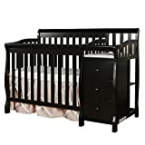Dream On Me Jayden 4-in-1 Mini Convertible Crib And Changer in Black, Greenguard Gold Certified