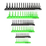 OEMTOOLS 22233 6 Piece Socket Tray Organizer Set, Green and Black, Socket Rails, Holds 80 SAE & 90 Metric Sockets, Deep and Shallow, 1/4', 3/8', & 1/2' Drive