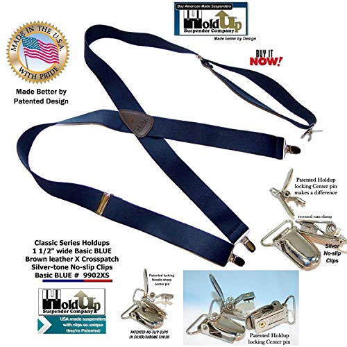 Holdup Suspender Company Classic Series Dark Blue Suspenders in X-back style with Silver Patented No-slip Clips