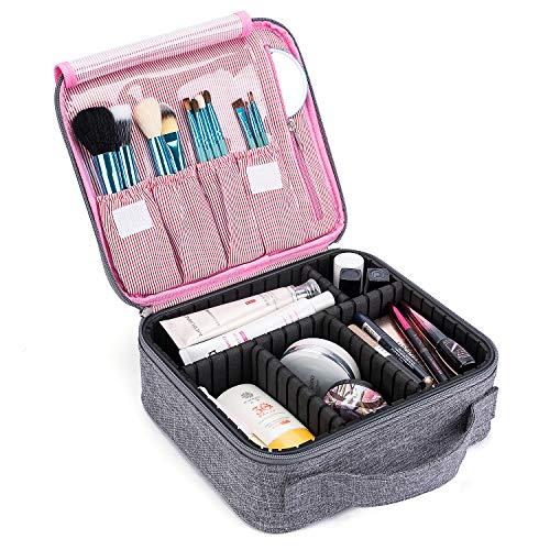 CoolBELL Kosmetiktasche Reise Makeup Box Zug Kasten Kosmetikkoffer Kosmetischer Organizer Etui Kulturbeutel Kulturtasche mit Teiler für Make-up Bürste Schmuck Toilettenartikel Digitalzubehör,Grau