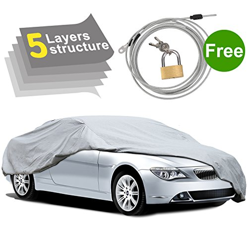 PUMPKIN 5 Layers Outdoor Waterproof Car Cover, Auto Cover All Weather Protection with Free Anti-Theft Lock for Sedan Up to 229 Inches