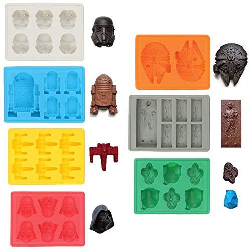 Sunerly Moldes de silicona para bandeja de hielo en forma de personaje de Star Wars, ideal para...