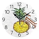 Promini Sweet Cruiser Bike with Pineapple Wheel Wooden Wall Clock 15inch Silent Battery Operated Non Ticking Wall Clock Vintage Wall Decor for Kitchen, Living Room, Bedroom, School, or Office