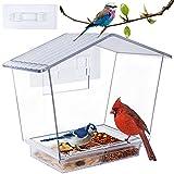 Window Bird Feeder, 10 X 7.3 Inch Cardinal Bird Feeder with Removable Sliding Tray and Drain Holes,...