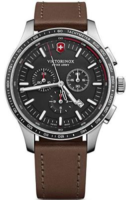 Victorinox Alliance Sport Stainless Steel Swiss-Quartz Watch with Leather Strap, Brown, 21 (Model: 241826)