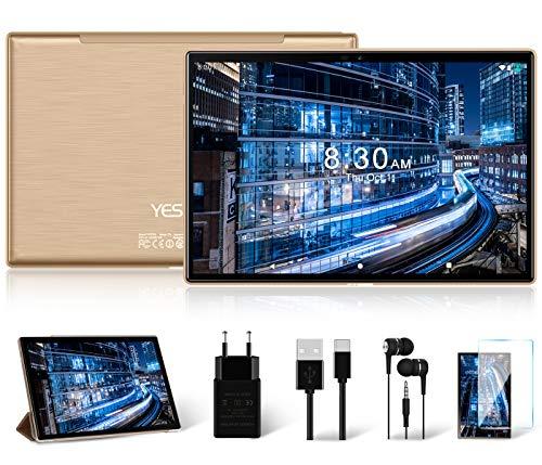 Tablette Tactile Android 10.0 YESTEL Tablettes PC10 Pouces de Octa Core,64Go, 3Go de RAM |4G LTE Doule SIM|2.4/5G WiFi| |6000mAh Batteries|Caméra 5MP + 8MP|GPS|Bluetooth|Type-C -Or