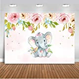 Mehofoto Elephant Baby Shower Backdrop Pink Elephant Floral Birthday Background 7x5ft Vinyl Baby Girls Baby Shower Birthday Party Banner Backdrops