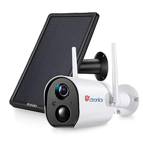 Cámara wifi para exteriores 1080P con panel solar, cámara de seguridad IP inalámbrica Ctronics con detección humana PIR, audio bidireccional, batería recargable de 10400 mAh, IP66 a prueba de agua