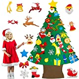 4 Ft Taller Felt Christmas Tree for Toddlers Kids,34 Pcs Felt Snowman Party Game Favors Detachable Snowflake Ornaments Christmas Tree Wall Hanging Decorations 2021 New Year Holiday Party Game Toy Gift