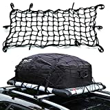 Tianmei 47' x 36' Adjustable Car Elasticated Bungee Cargo Net Heavy Duty Auto Roof Luggage Carrier Elasticity Cargo Carrier Net with 10 Plastic Hooks and 10 Metal Hooks