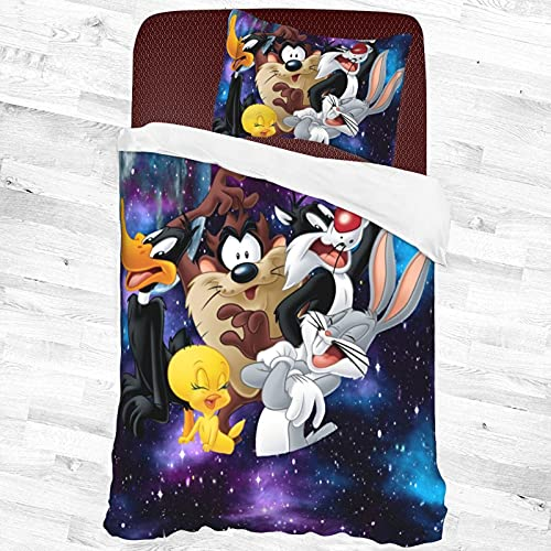 Space Jam Tweety Bugs Bunny Daffy Duckseries 2-Piece Twin Bed Sets, Cartoon Quilt Cover Bedding Set Soft and Breathable Comforter Cover 55