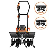 TACKLIFE Electric Tiller, 13.5 Amp Tiller Cultivator, Removable Blade, Adjustable Working Width(18''/12.5''), 8'' Tilling Depth, Foldable Handle, Adjustable Wheels - TGTL01A