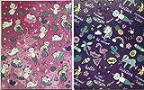 Bundle of 2 Mermaid Cat Unicorn Portfolio Folders: 3-Hole Punched 2-Pocket Design