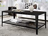 Allewie Industrial Coffee Table, Living Room Table with Dense Mesh Shelf and 2-Tier Large Storage Space, Wood Look Accent Furniture with Rivet Design, Easy Assembly, Black