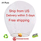 Sky Chinese Lanterns 10-Pack, Fully Assembled and Fuel Cell Attached is 100% Biodegradable (White)